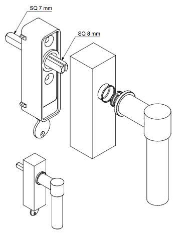 Låsbart fönsterhandtag PBL20-DKLOCK IN - i rostfritt stål
